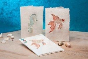 Handgeschept papier wenskaarten