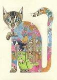 Wenskaart - kat die poot likt_