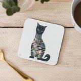 Onderzetter - zwarte kat_