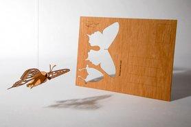 Houten kaart - vlinder