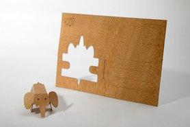 Houten kaart - olifant
