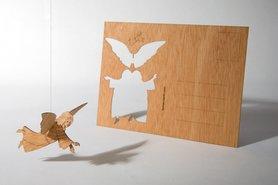 Houten kaart - engel