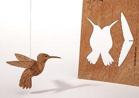 Houten kaart - kolibrie