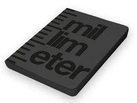 Notitieboek A5 - Millimeter, zacht leer, zwart glossy tekst