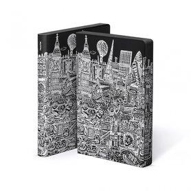 Notitieboek A5 - Londen, zacht leer, witte print