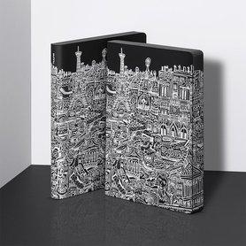 Notitieboek A5 - Parijs, zacht leer, witte print