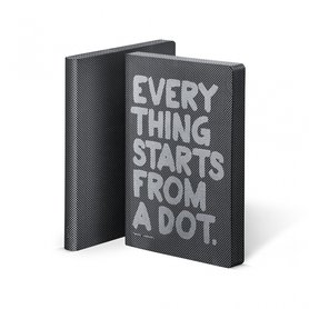 Notitieboek A5 - Everything Starts from a dot, zacht leer, zilver metallic tekst