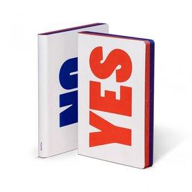 Notitieboek A5 - Yes - No, zacht leer, blauwe en rode tekst