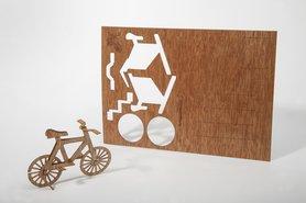 Houten kaart - fiets