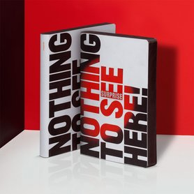 Notitieboek A5 - Nothing To See Here, zacht leer, thermo tekst