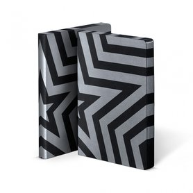 Notitieboek A5 - Super Star, zacht leer, zilver metallic print