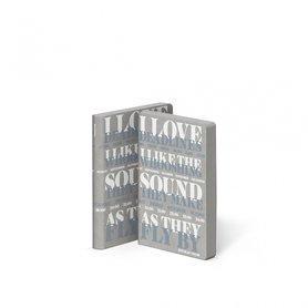 Notitieboek A6 - I Love Deadlines, jeans label, grijze en witte tekst