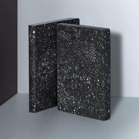 Notitieboek A5 - Milky Way, zacht leer, zilver metallic print