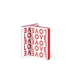 Notitieboek A6 - Love, zacht leer, rode tekst