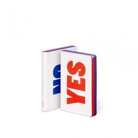 Notitieboek A6 - Yes - No, zacht leer, blauwe en rode tekst