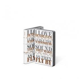 Notitieboek A6 - I Love Deadlines, zacht leer, koper metallic en grijze tekst