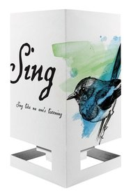 Wenskaart theelicht vogel blauw
