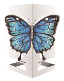 Wenskaart theelicht vlinder blauw