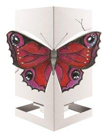 Wenskaart theelicht vlinder rood