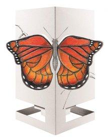 Wenskaart theelicht vlinder orange