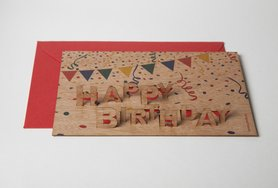 Houten kaart pop-up - happy birthday