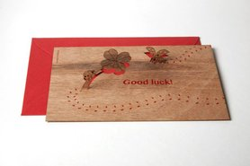 Houten kaart pop-up - good luck