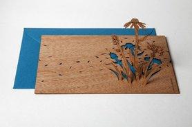 Houten kaart pop-up - blauwe bloem