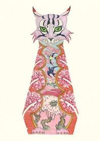 Wenskaart - roze kat