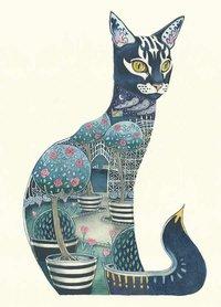 Wenskaart - kat in de nacht