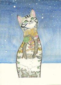 Wenskaart - kat in de sneeuw