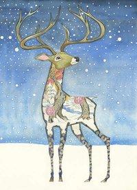 Wenskaart - hert in de sneeuw