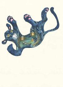 Wenskaart - vallende jaguar 3