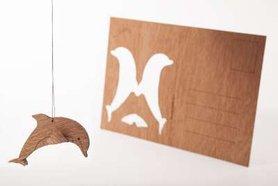 Houten kaart - dolfijn