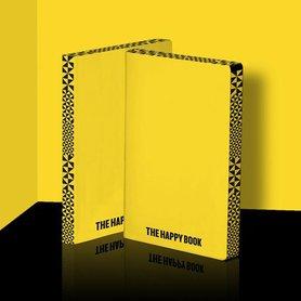 Notitieboek A5 - Happy Book, zacht leer, gele kaft met zwarte titel