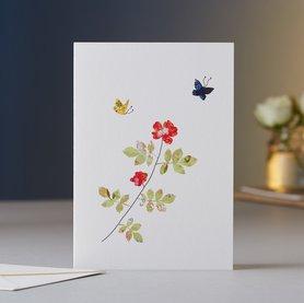 Wenskaart Rose & Butterflies