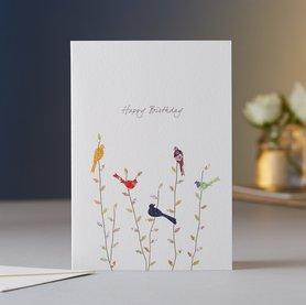 Wenskaart Spring Birds Birthday