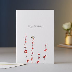 Wenskaart Butterfly & Blossom Birthday