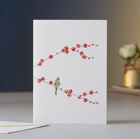 Wenskaart Blossom & One Bird