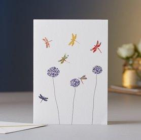 Wenskaart Dragonflies & Aliums