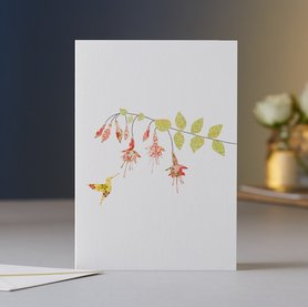 Wenskaart Fuchsia & Hummingbird