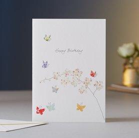 Wenskaart Butterfly  & Orchids Birthday