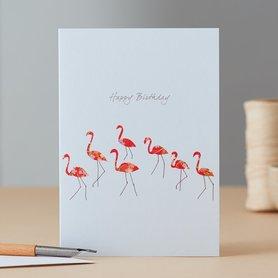 Wenskaart Flamingo Dance Birthday