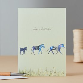 Wenskaart Three Zebras Birthday