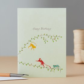 Wenskaart Three Monkeys Birthday