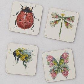 Onderzetters - insecten en vlinder