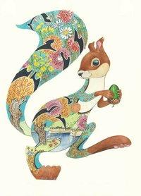 Wenskaart - turquoise eekhoorn