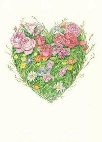 Wenskaart - hart van bloemen en gras