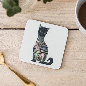 Onderzetter - zwarte kat