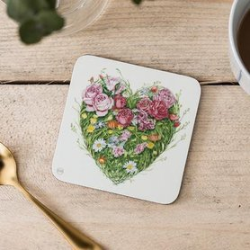 Onderzetter - hart van bloemen en gras