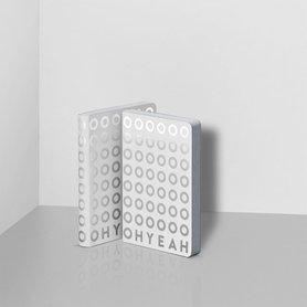 Notitieboek A6 - Oh Yeah, zacht leer, zilver metallic print